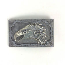Eagle Belt Buckle Rectangular Western Patriotic Ornate Silvertone Cast Metal