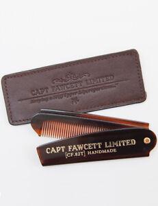 Captain Fawcett Folding Pocket Beard Comb (CF.82T) 82T with Leather Case