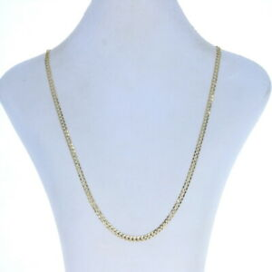 """Yellow Gold Diamond Cut Curb Chain Necklace 24 1/4"""" - 10k"""