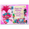 g384 pink; Large A5 Personalised Birthday card Trolls; Any name age relationship