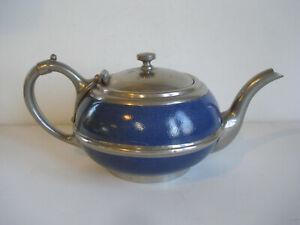 Antique ~ Blue Graniteware ~ Pewter Trimmed Teapot
