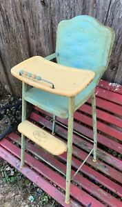 Vintage 1950's Era Blue & Creamy White Metal High Chair For Doll From Amsco