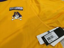 MENS ADIDAS EAST CAROLINA PIRATES ECU NCAA POLO Shirt 2XL YELLOW/PURPLE  NWT