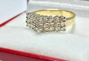 1 Ct Round Diamond Pyramid 10K Yellow Gold Over Cocktail Cluster Woman's Ring