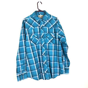 Wrangler 2XLT Shirt Pearl Snap Western Glen Plaid Diamond Flap Pocket Gray Mens