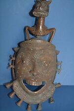 Gran Mid 20th Century Máscara Africana Bronce Tribal tikar, gran decoración, c1950