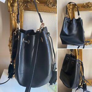 ZARA Black Real Leather Crossbody Bucket Bag W/shoulder Strap Tassel Trim VGC