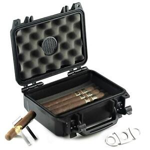 Waterproof Travel Cigar Humidor Case - Holds up to 20 Cigars with Accessories