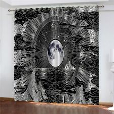 Psychedelic Moon Window Curtains 2 Panel Set Room Hanging Blackout Window Drapes