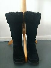 SKETCHERS BLACK REAL SUEDE LEATHER WINTER BOOTS WITH FUR SIZE 5.5  EXCELLENT !