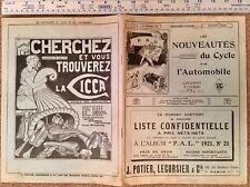 BICYCLE / CAR VINTAGE PRICE LIST CATALOGUE PARIS 1921 ' LES NOUVEAUTES DU CYCLE