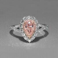 Certified 3.50ct Baby Pink Pear Diamond Engagement Ring Real 14K White Gold Over
