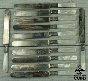 Lot of 12: Landers Frary & Clark Sterling Silver Blades & Mother of Pearl Handle