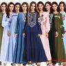 Vintage Abaya Women Kaftan Dubai Jilbab Embroidery Long Dress Muslim Maxi Robe