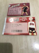 Pink Used Concert Tickets 2009, 2013 Immaculate Condition