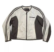 Victory Motorcycle Jacket White Embroidered Patch Full Zip Heavy Size XXL