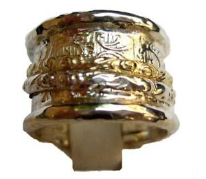 Bluenoemi Jewelry - Spinner Ring Sterling 925 Silver 9ct Gold Romantic Floral