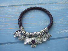 FAB SILVER TONE BALL PURPLE LEATHER HEART & CRYSTAL BIJOUX CHARM BRACELET