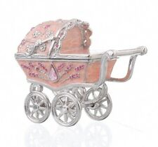 Baby carriage trinket box hand made by Keren Kopal & Austrian crystals Faberge