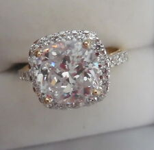 ELEGANT RING IN 10KT WHITE GOLDW, SPARKLY 2 CT CZ STONE BEAUTIFUL R-7.5