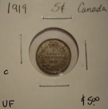 C Canada George V 1919 Silver Five Cents - VF