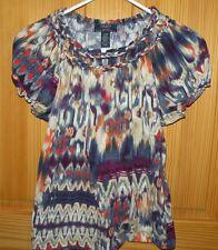 Chaps Denim Women's Size PL Multi Color Braided Neck Peasant Knit Top Shirt