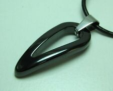 "Men Tungsten & Black Ceramic Lucky HORN Pendant w/ Leather Necklace 20"" & 22"""