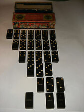 VINTAGE CROWN DOMINOES USA EMBOSSING COMPANY GREAT GRAPHICS WOOD BLUE BOX INDIAN