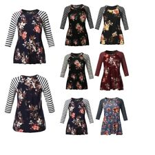 FashionOutfit Women's Striped Floral Printed 3/4 Raglan Sleeve Jersey Knit Top