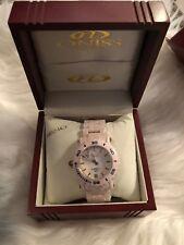 Oniss Paris Oversized HI TECH Pink Ceramic white dial swiss Watch NEW