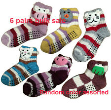 6 Pair New 3D Animal Head Knitted Ladies Girls Cotton Winter Bed Socks Non Slip