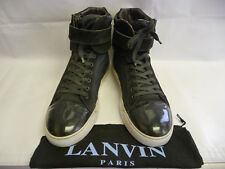 LANVIN Mens Athletic Shoes 11 Sneakers Hi Tops Black Leather Canvas Captoe Italy
