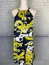 Bcbg Maxazria Dress Womens Size XL Yellow Blue Halter Ruched Waist Keyhole Back