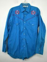 Sheplers Mens Blue Long Sleeve Pearl Snap Button-Up Cotton Western Shirts L