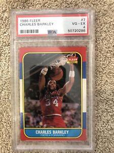 1986 Fleer Charles Barkley PSA 4 RC #7 NICE SUNS ROCKETS HOF 💥