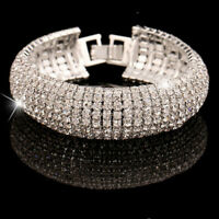 Dame Frau Schmuck Armband Jahrgang Hochzeitsarmbänder Kristall