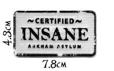 Quality Iron/Sew on Batman Certified Insane Arkham Asylum Patch DC Comics joker