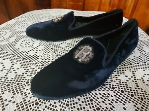 ROBERTO CAVALLI Velvet Slipper Loafers Men's Shoes (Made in Italy)
