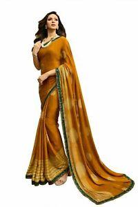 Saree Georgette Designer Wedding Indian Blouse Bollywood New Party Wear Sari Sc