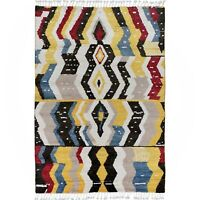 Geometric Moroccan Gabbeh Area Rug Lamb-Wool Hand-Knotted Modern Carpet 5'x8'