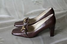 ANNE KLEIN MAWICKEDFF HEELS BROWN & GOLD LEATHER DRESS SHOES WOMENS SIZE 6.5 M