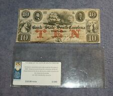 """CIVIL WAR """"THE BANK OF THE STATE OF SOUTH CAROLINA 1861  $10 CANCELLED NOTE"""