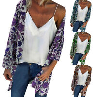 Womens Floral Chiffon Shawl Kimono Cardigan Top Lady Beach Cover Up Blouse Shirt