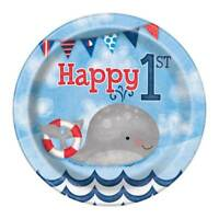 """8 x 7"""" Paper Plates Boys Nautical 1st Birthday Party Tableware Supplies Baby"""