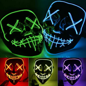 Neon Stitches Mask LED Wire Light Up Costume Party Purge Halloween Cosplay Masks