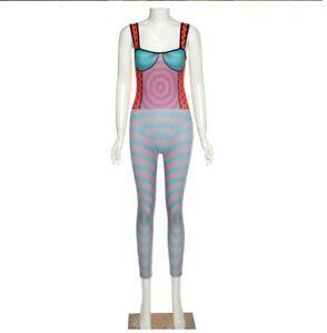Women Sleeveless Ribbed Striped Patchwork Slim Skinny Stretchy Bodycon Jumpsuit