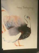 RARE Papyrus Thanksgiving Card - Mateja Kovac Watercolor Turkey, Foil Embossing