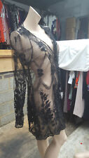 Exquisite Ladies Black Cover-Up Open Evening Jacket Beads Lace Studs Size L