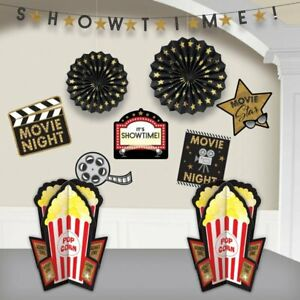 Hollywood Movie Night Popcorn Showtime Birthday Party 10 Piece Room Decorations