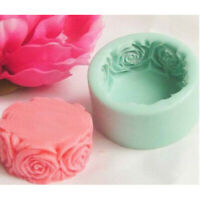 Round Rose Flowers Silicone Soap Cake Candle Mold Cookie Candy Craft DIY Mould